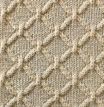 Cable Lattice Diamond Shape Stitch