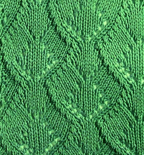 Knitted Leaf Pattern : Wide Leaf Knitting Stitch - Knitting Kingdom