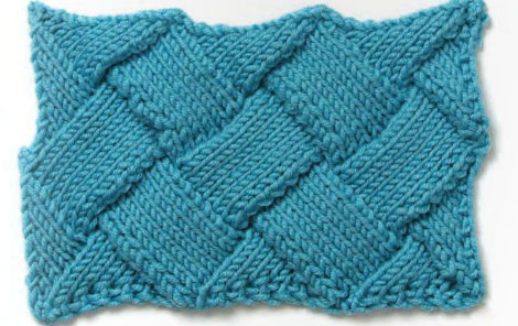 One-Color Stockinette Stitch Entrelac Knitting Pattern
