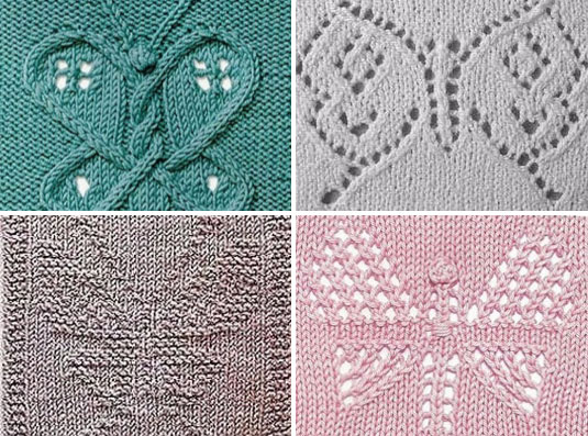 Knitting Butterfly Stitch Pattern : 4 Butterfly Panels to Knit - Knitting Kingdom
