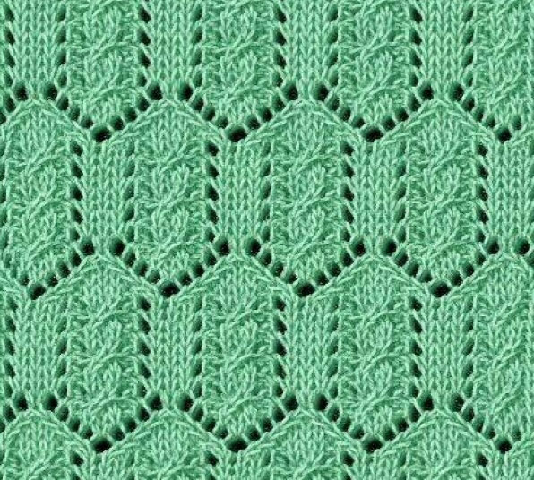 Diamond Lace Knitting Stitches : Cable in Lace Diamonds - Knitting Kingdom