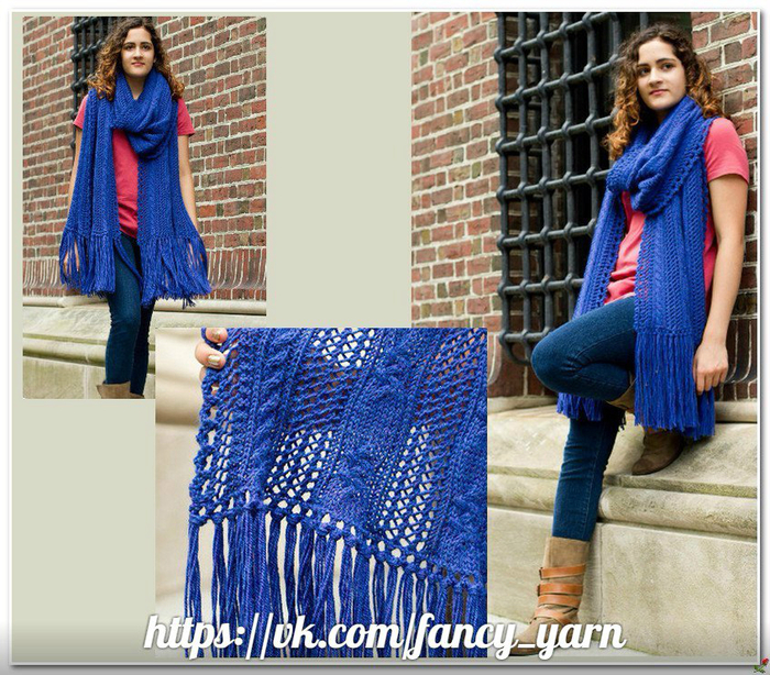 mesh and cable knitting pattern scarf