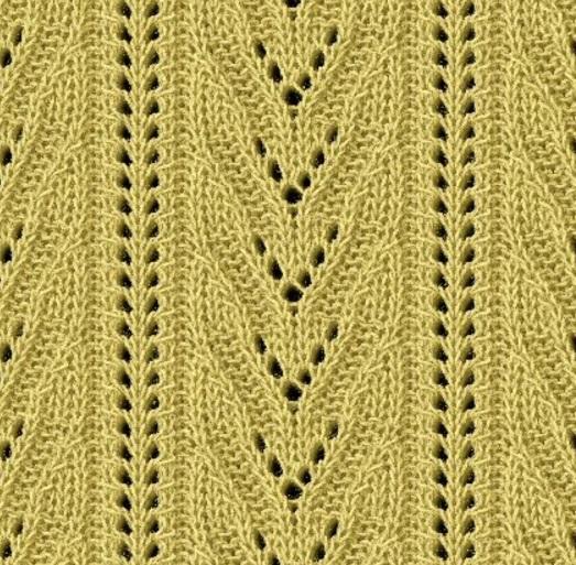 V motif lace knitting stitch
