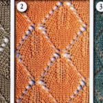 Triangle lace knit stitch 3 variations
