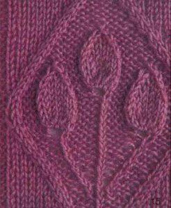 Three Leaves in a Diamond Panel Knitting Stitch