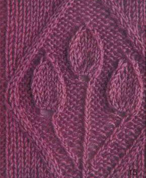 Three Leaves in a Diamond Panel Knitting Stitch