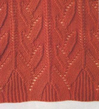 Leafy Lace Knit Stitch with Edge