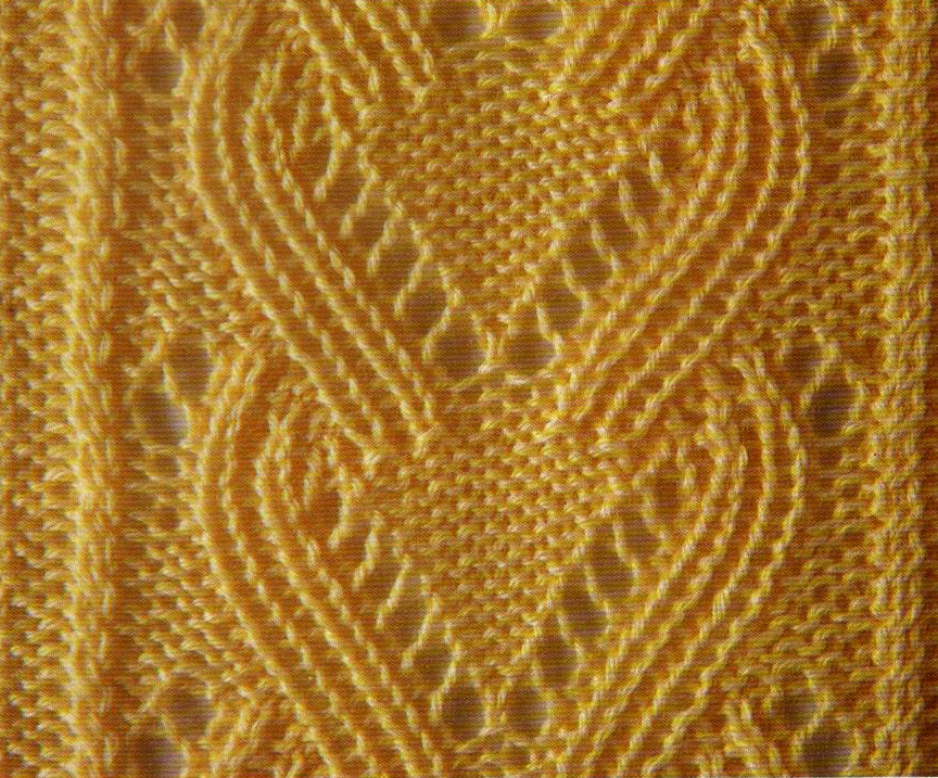 Yellow Eyelet Lace Knit Stitch Chart