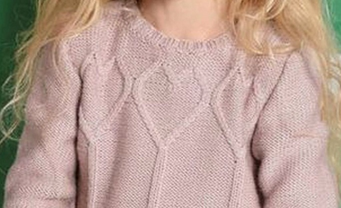 Knitting Pattern Jumper With Heart : Heart Sweater for Girls - Knitting Kingdom