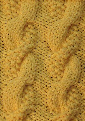 Moss And Stockinette Cable Knitting Stitch Pattern