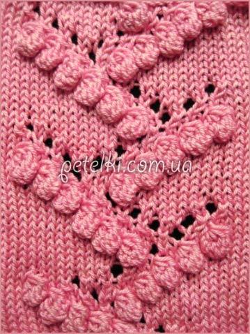 Bobble and lace knitting stitch