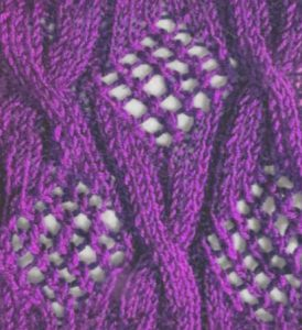 Diamond lace and cables knitting stitch