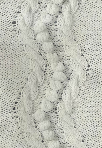 Vertical Zig Zag Cable and Bobble Panel Knitting Stitch