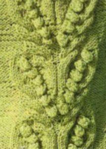 Bobble in a V Shape Knitting Stitch Panel