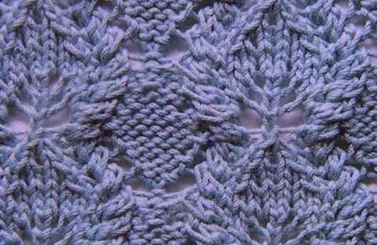 Knitting Cables Loose Stitches : Diamonds, Leaves and Cables Knit Stitch - Knitting Kingdom