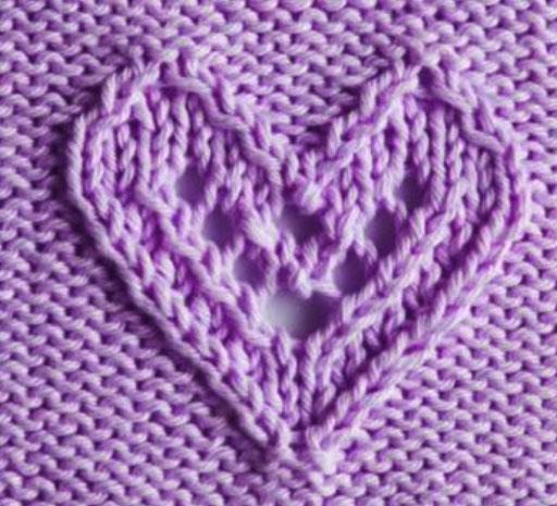 Lacy Heart Knitting Stitch Knitting Kingdom