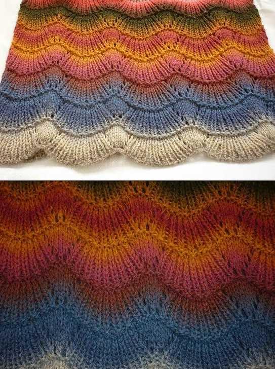 Fan Ripple Knitting Stitch.