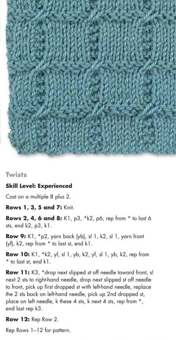 Knitting Stitch Pattern for Checkered Twists