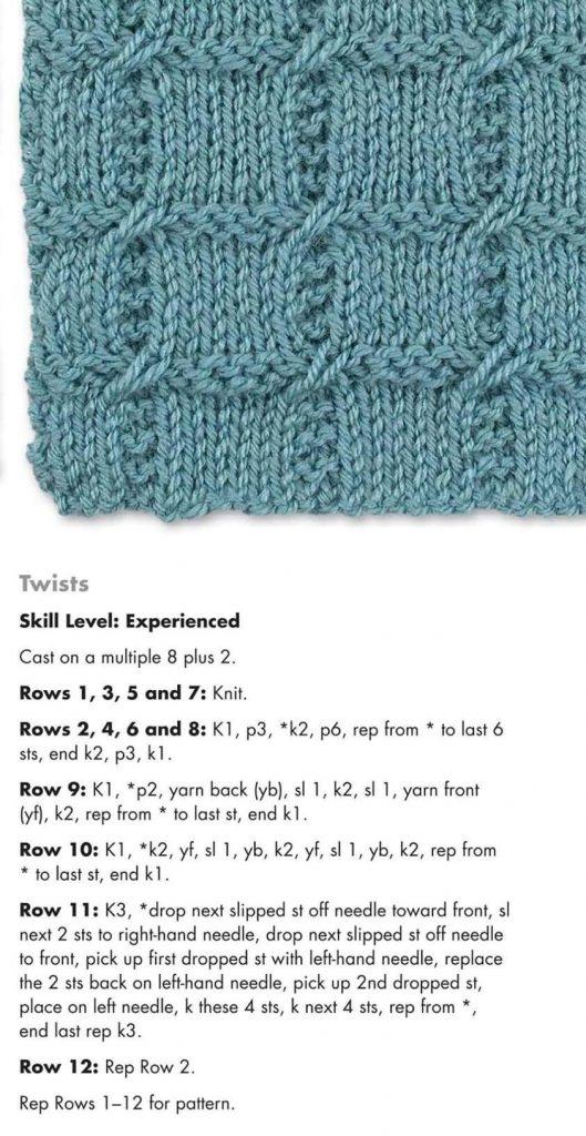 Knitting Stitch Pattern for Checkered Twists