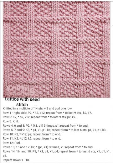 Lattice with Seed Stitch Free Knitting Pattern