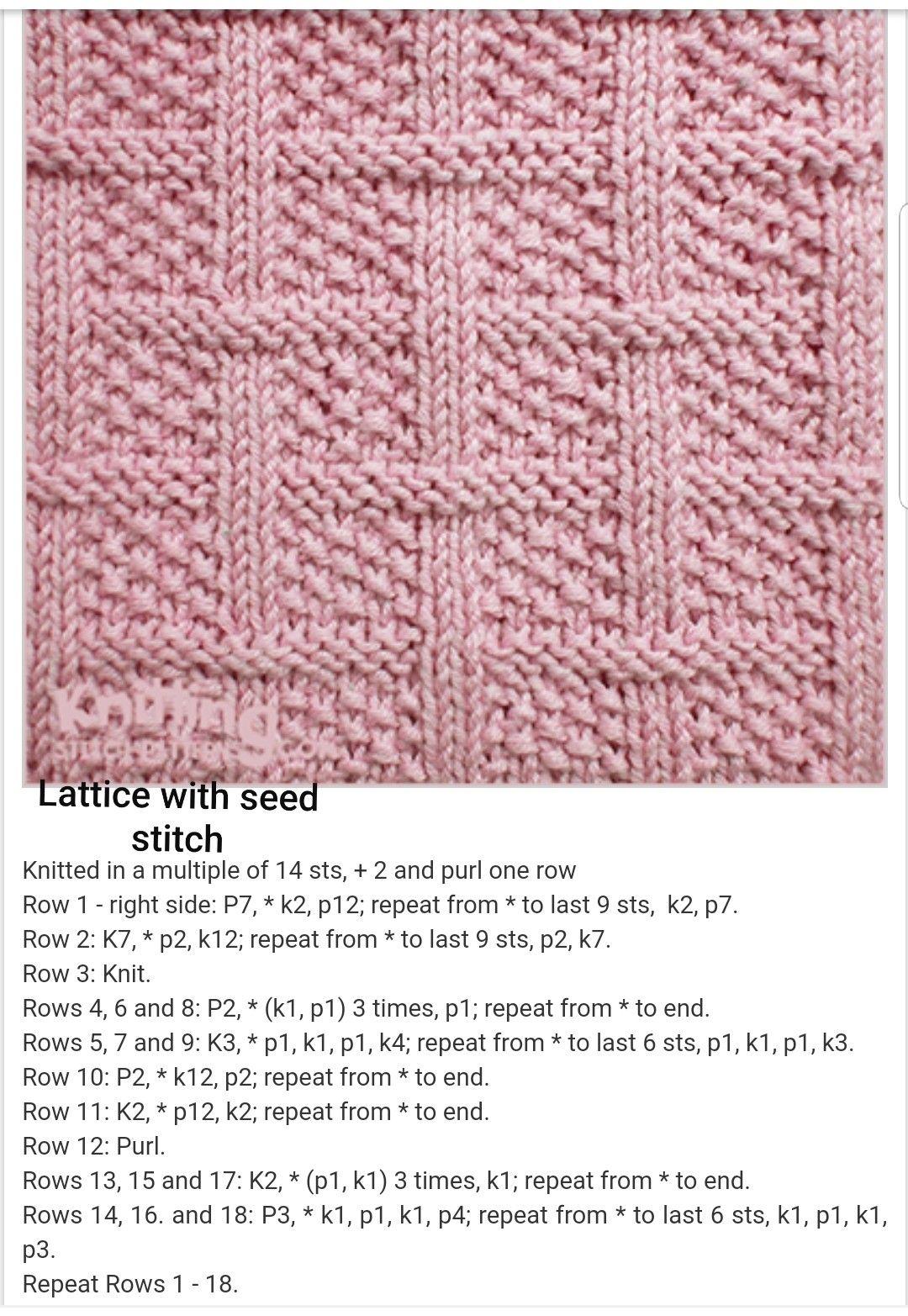 Lattice with Seed Stitch Free Knitting Pattern