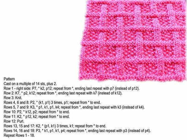 Lattice and Moss Free Knitting Stitch
