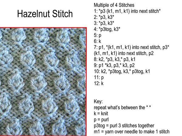 Hazelnut Stitch Free Knitting Pattern