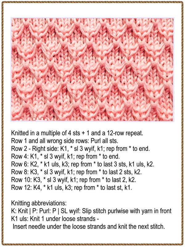 Free Knitting Stitch for a Slip Stitch Diamond