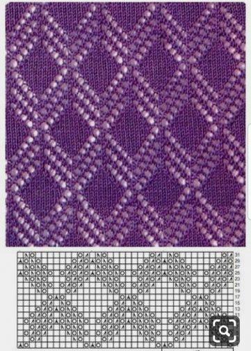 Free Lace Diamond Knitting Stitch Chart