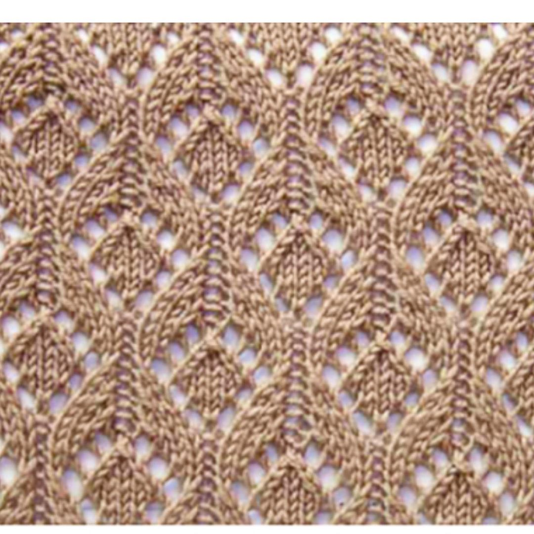 Free Knitting Stitch in lace with arches and diamonds