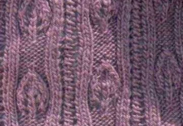 Lace Leaf and Eyelet Vertical Pattern Knit Stitch