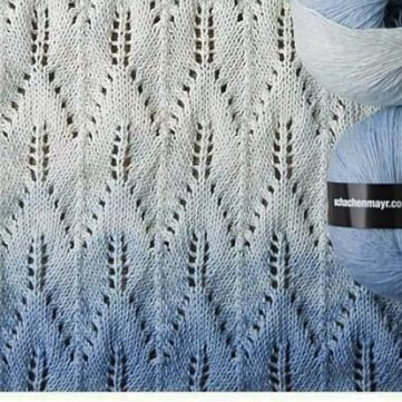 Lace stitch free chart with chevron leaf