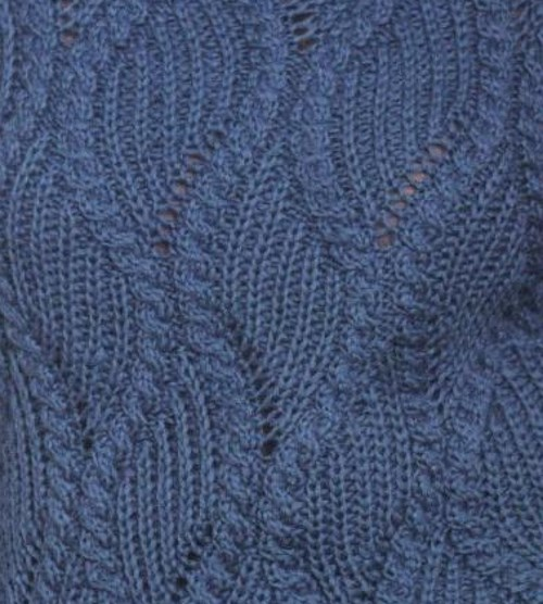 Diagonal Rib Stitch and Cable Ropes Knit Stitch