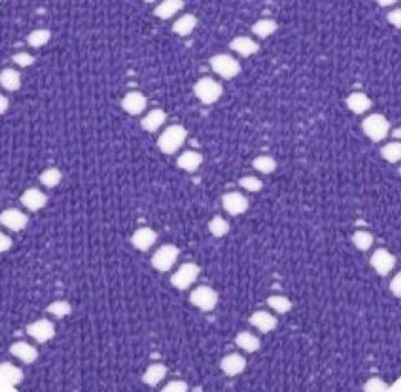 Vertical zig zag lace knitting stitch