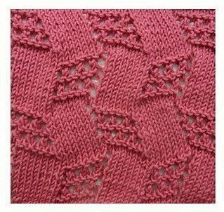 Checkered lace zig zag free knitting stitch